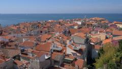Aerial - Coastal Mediterranean city - stock footage
