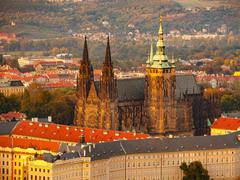 St. Vitus Cathedral on Prague Castle - stock photo