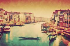 Vintage painting of Venice, Italy. Gondola floats on Grand Canal - stock illustration