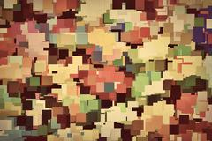Colorful squares background in vintage sepia tint - stock illustration
