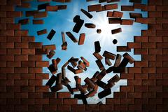 Stock Illustration of Brick wall falling down making a hole to sunny sky outside