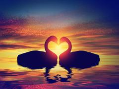 Two swans making a heart shape at sunset. Valentine's day Stock Illustration