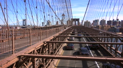 Cars cross the Brooklyn Bridge. Stock Footage