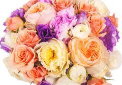 wedding bouquet with rose bush - stock photo