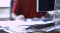 Alone worker in the office working using computer Stock Footage