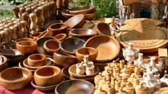 Stall with souvenirs, utensils made of wood. - stock footage