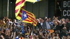 Artur Mas Celebrating Victory in Catalan Elections Stock Footage
