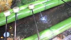 Water of Ceremony shinto style called Omairi by temizu ritual Stock Footage