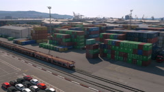 Aerial - Cars and shipping containers at Koper port Stock Footage