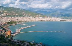 View of the harbor and the city of Alanya Stock Photos