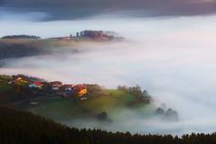 Stock Photo of Arexola village in Aramaio foggy valley