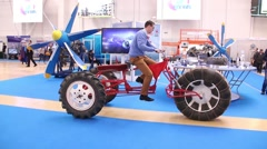 Test car parts at the International Exhibition of technical advances Stock Footage