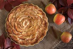 Traditional holiday celebration homemade apple pie sweet dessert food with Stock Photos