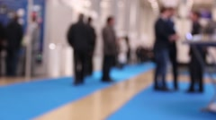 blurred image of people at the international exhibition of technical accomplishm - stock footage