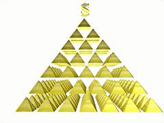 Alluring deceptive isolated pyramids topped by a golden dollar - stock illustration