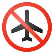 Aircraft traffic sign, round, crossed out Stock Illustration