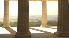 AA- in ancient greek temple with alpha channel Stock Footage
