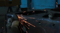 Processing of metal grinder with sparks Stock Footage