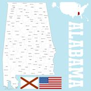 Alabama county map - stock illustration