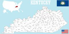 Kentucky county map - stock illustration