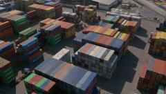 Aerial - Shipping containers at port Stock Footage
