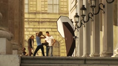 Munich, Germany - fashion shoot with model, long shot - stock footage