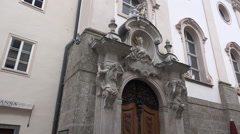 4k St. Sebastian church outdoor entry Salzburg Austria Stock Footage