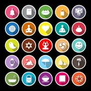Zen society flat icons with long shadow - stock illustration