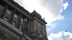 The beautiful architecture of the National Museum, Prague Stock Footage