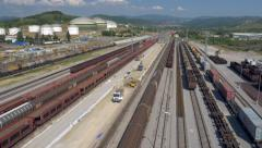 Aerial - Freight-train station at the Koper port Arkistovideo