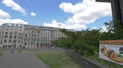 The old buildings on Wilsonova Street in Prague Stock Footage