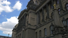 The National Museum's facade in Prague Stock Footage