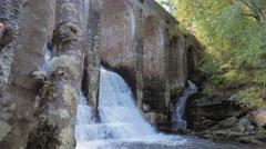 Below Byrd Creek Dam Waterfall Cascade Ancient Aqueduct Stock Footage