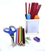 School supplies Colorful Pencils closeup & stationery Stock Photos