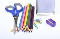 School Supplies Stationery Items Isolated on White - stock photo