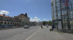 Traffic near Prague Main Railway Station on Wilsonova street, Prague Stock Footage
