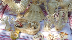Dolls from cornstalks. Ukraine. - stock footage