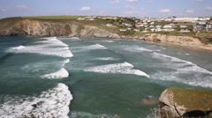 Mawgan Porth beach north Cornwall England near Newquay Stock Footage