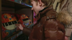 Mother and son at the toy store. Stock Footage