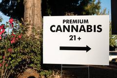 Premium Cannabis Sign Retail Portland - stock photo