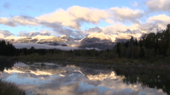 Grand Tetons in Fall Reflection Stock Footage