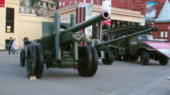 Exhibition of old military russian cars. Stock Footage
