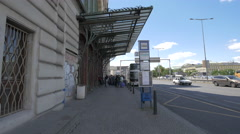 The main entrance to Prague Main Railway Station, Prague Stock Footage