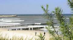 Baltic Sea, beach of Ustka, Poland Stock Footage