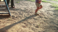 walking on sand, footsteps in sand - stock footage