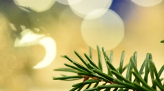 Golden christmas stars with detail of christmas tree Stock Footage