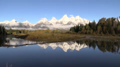 Grand Tetons in Fall Reflected Stock Footage