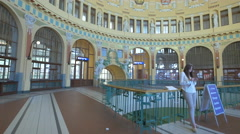 The historic hall of the Main Railway Station in Prague Stock Footage