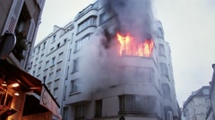 A building on fire and smoke in central Paris - Full HD - stock footage