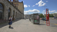 Bus station near the entrance to the Main Railway Station in Prague Stock Footage